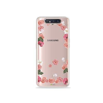 Capinha (Transparente) Pink Roses para Galaxy A80