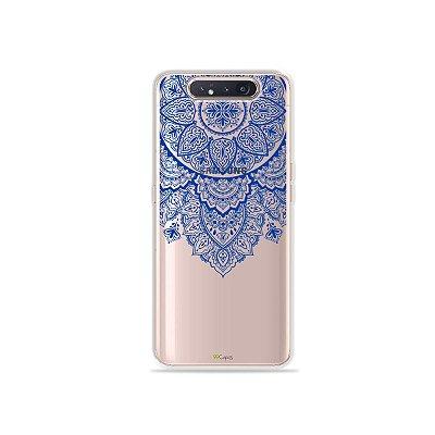 Capinha (Transparente) Mandala Azul para Galaxy A80