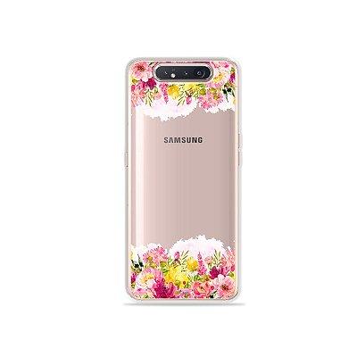 Capinha (Transparente) Botânica para Galaxy A80