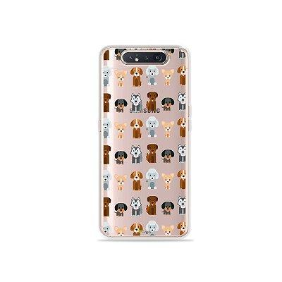 Capinha (Transparente) Doguinhos para Galaxy A80