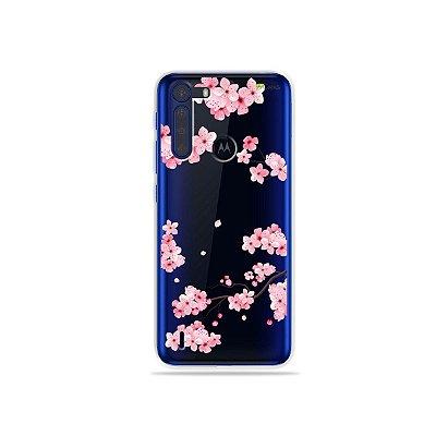 Capinha (Transparente) Cerejeiras para Moto One Fusion