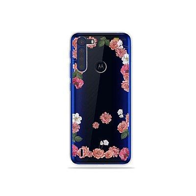 Capinha (Transparente) Pink Roses para Moto One Fusion
