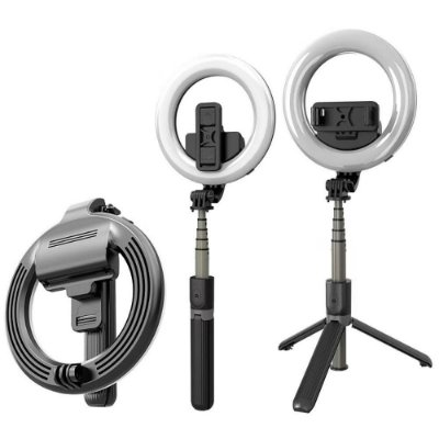 Ring Light 6 Polegadas com Tripé Conexão Bluetooth e Bastão Pau Selfie Preto - 81188