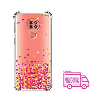 Capinha (Transparente) Corações Rosa para Moto G9 Play