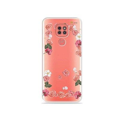 Capinha (Transparente) Pink Roses para Moto G9 Play