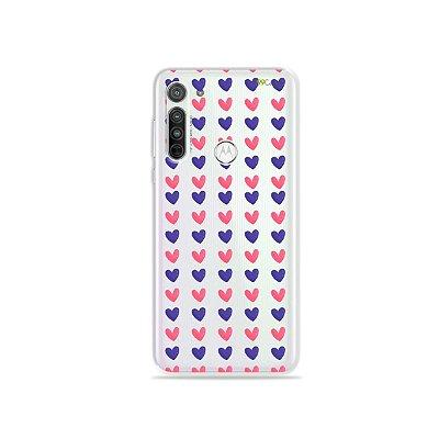 Capa (transparente) para Moto G8 - Corações Roxo e Rosa