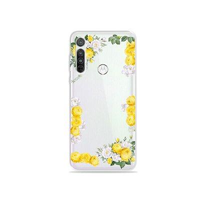 Capa (transparente) para Moto G8 - Yellow Roses