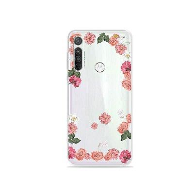 Capa (transparente) para Moto G8 - Pink Roses
