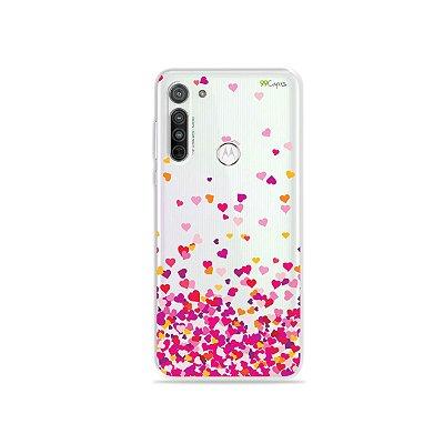 Capa (transparente) para Moto G8 - Corações Rosa
