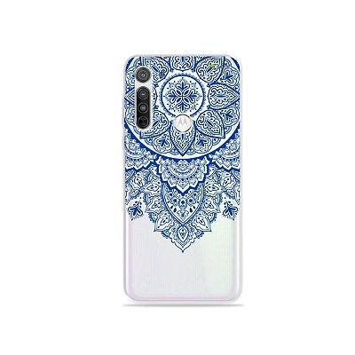 Capa (transparente) para Moto G8 - Mandala Azul