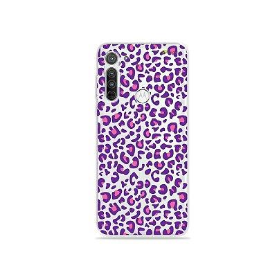 Capa (transparente) para Moto G8 - Animal Print Purple