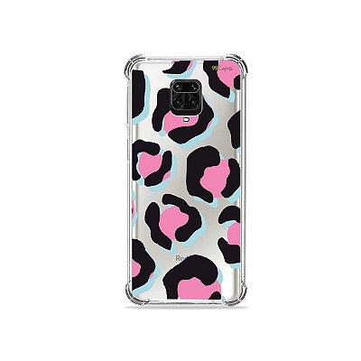 Capinha (Transparente) para Redmi Note 9 Pro - Animal Print Black & Pink