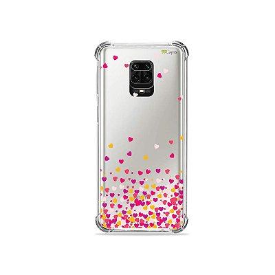Capinha (Transparente) para Redmi Note 9S - Corações Rosa