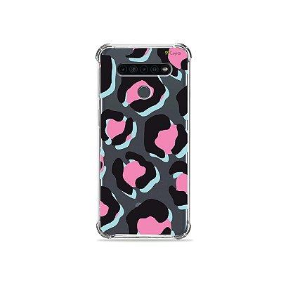 Capinha (Transparente) para LG K41s - Animal Print Black & Pink