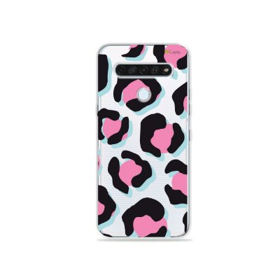 Capinha (Transparente) para LG K61 - Animal Print Black & Pink