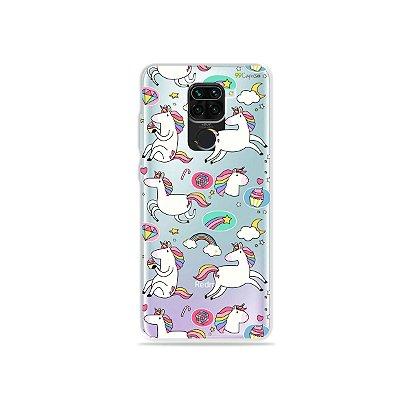 Capinha (Transparente) para Xiaomi Redmi Note 9 - Unicórnios Felizes