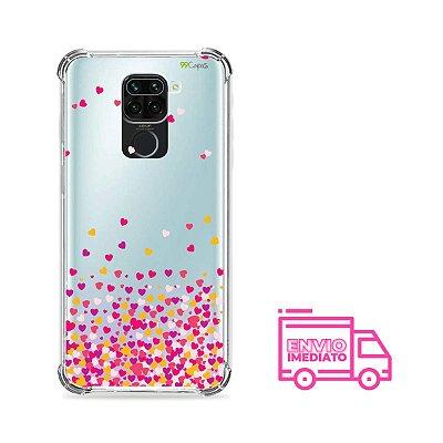 Capinha (Transparente) para Xiaomi Redmi Note 9 - Corações Rosa