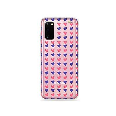 Capinha (Transparente) para Galaxy S20 - Corações Roxo e Rosa
