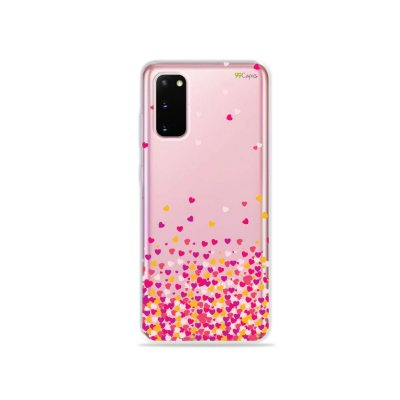 Capinha (Transparente) para Galaxy S20 - Corações Rosa