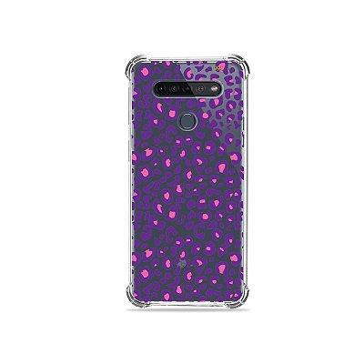 Capinha (Transparente) para LG K51s - Animal Print Purple