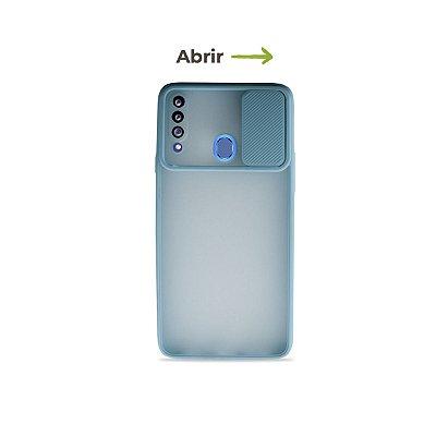 Capinha Soft Azul com proteção de câmera para Galaxy A20s  - 99Capas