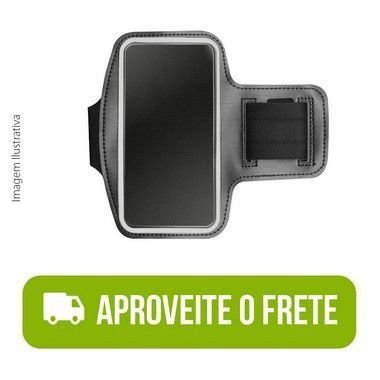Braçadeira Esportiva Preta de Neoprene para Moto E7 Plus