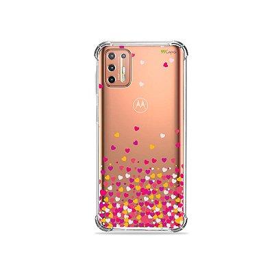 Capinha (Transparente) para Moto G9 Plus - Corações Rosa