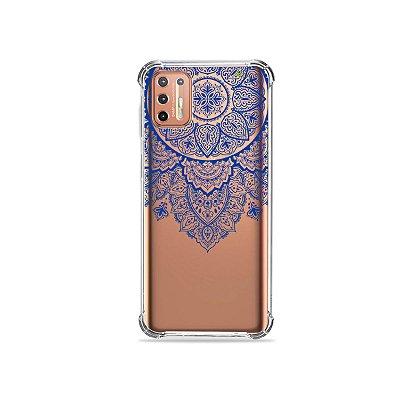 Capinha (Transparente) para Moto G9 Plus - Mandala Azul