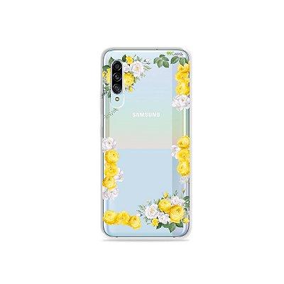 Capinha (Transparente) para Galaxy A90 - Yellow Roses