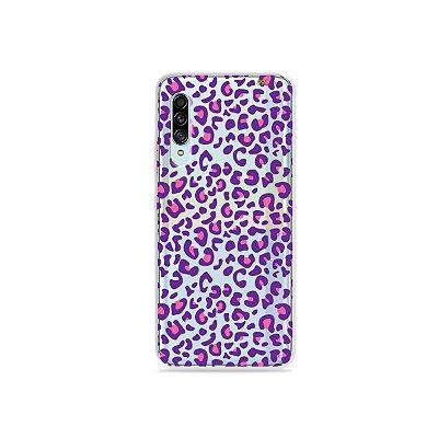 Capinha (Transparente) para Galaxy A90 - Animal Print Purple
