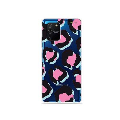 Capa (Transparente) para Galaxy S10 Lite - Animal Print Black & Pink
