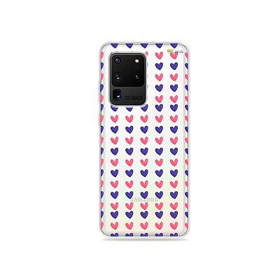 Capa (Transparente) para Galaxy S20 Ultra - Corações Roxo e Rosa