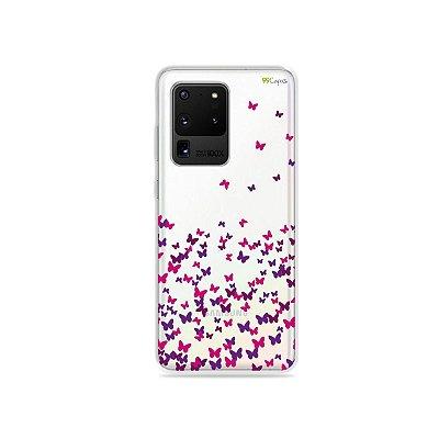 Capa (Transparente) para Galaxy S20 Ultra - Borboletas Flutuantes