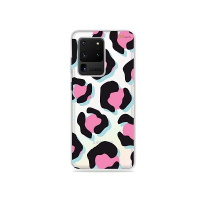 Capa (Transparente) para Galaxy S20 Ultra - Animal Print Black & Pink