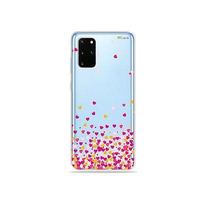 Capa (Transparente) para Galaxy S20 Plus - Corações Rosa