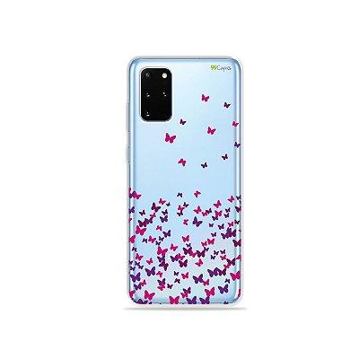 Capa (Transparente) para Galaxy S20 Plus - Borboletas Flutuantes