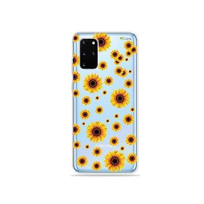 Capa (Transparente) para Galaxy S20 Plus - Girassóis