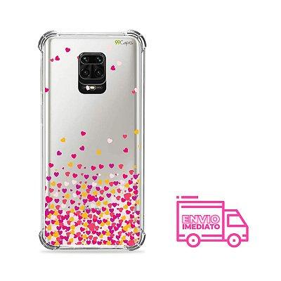 Capa (transparente) para Redmi Note 9s - Corações Rosa