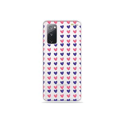 Capa (Transparente) para Galaxy S20 FE - Corações Roxo e Rosa
