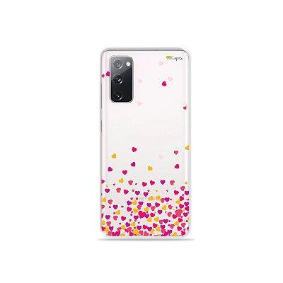 Capa (Transparente) para Galaxy S20 FE - Corações Rosa