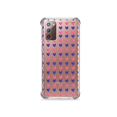 Capa (Transparente) para Galaxy Note 20 - Corações Roxo e Rosa
