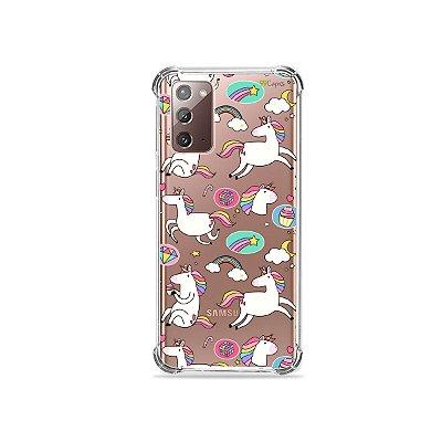 Capa (Transparente) para Galaxy Note 20 - Unicórnios Felizes