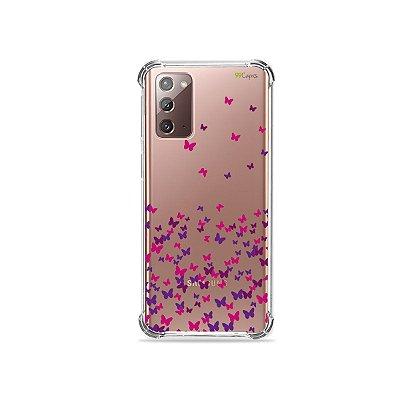 Capa (Transparente) para Galaxy Note 20 - Borboletas Flutuantes