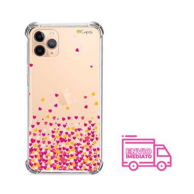 Capa (Transparente) para Iphone 12 - Corações Rosa