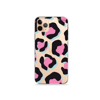 Capa (Transparente) para iPhone 12 Pro - Animal Print Black & Pink