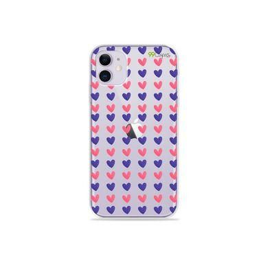 Capa (Transparente) para Iphone 12 Mini - Corações Roxo e Rosa