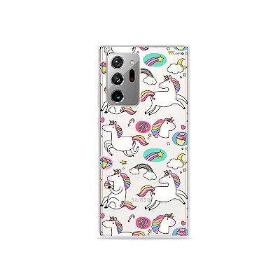 Capa (Transparente) para Galaxy Note 20 Ultra - Unicórnios Felizes