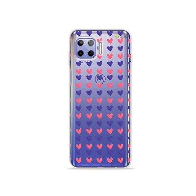 Capa (Transparente) para Moto G 5G Plus - Corações Roxo e Rosa