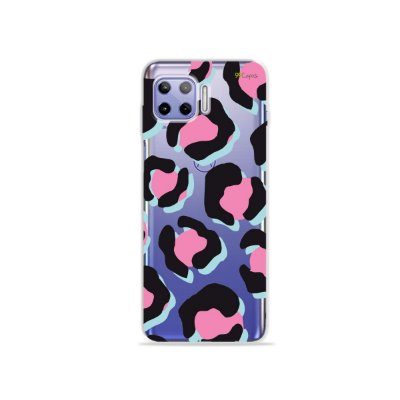 Capa (Transparente) para Moto G 5G Plus - Animal Print Black & Pink
