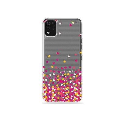 Capa (Transparente) para LG K52 - Corações Rosa